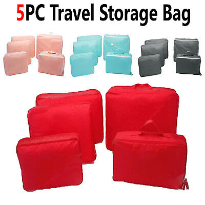 5 Pieces Storage Bags Packing Cube Travel Luggage Organizer Socks Suitcase Pouch