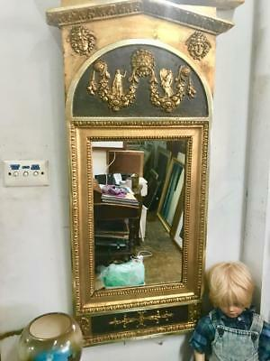 ANTIQUE FRENCH LOUIS STYLE GILT , CARVED AND PAINTED TRUMEAU MIRROR..94 X 46.5cm