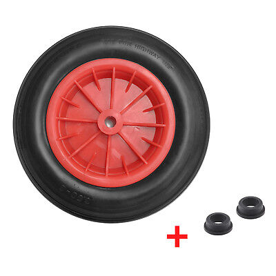 "PU 14"" Puncture Proof BLACK Wheelbarrow Wheel Tyre 3.50 - 8 Light Weight FOAM"
