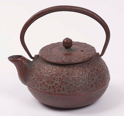 Japanese Nanbu Tekki Iwachu Tetsubin Cast Iron Tea Kettle Sakura Pattern Japan