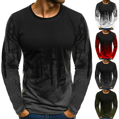 Men Gradient Long-Sleeve Basic T-Shirts Casual Fitness Gym T-Shirt Tee Street US