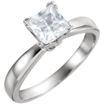 Solitaire 1.21CT Princess Diamond Criss Cross Engagement Ring 14k White Gold FN