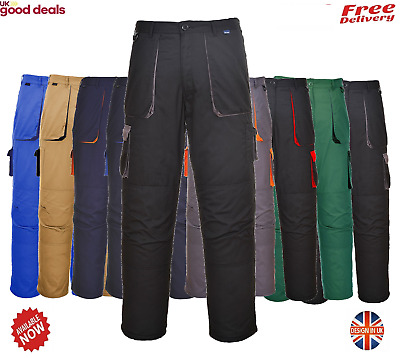 Portwest TX11 Contrast Trousers Texo Work Protective Pants Elastic Waist Kneepad