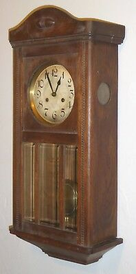 vintage wooden case wall clock, Vienna style, needs attention