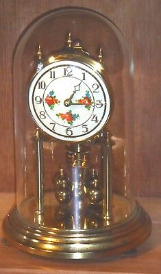 Vintage Kundo perpetual anniversary clock in glass dome, spares or repairs