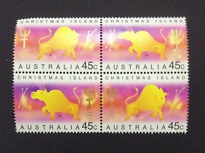 1997 Christmas Island Chinese New Year Ox Block of 4 MUH Mint Stamps Australia