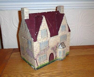Unusual Vintage Large Painted House Shape Wooden Moneybox. Looks Handmade