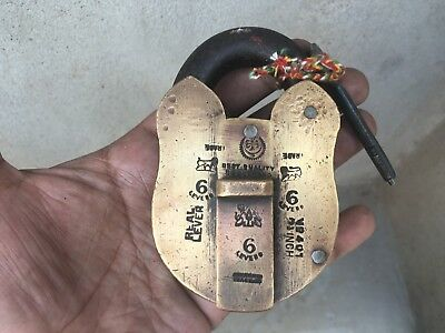 Vintage Old Brass Heavy  And Solid Padlock Rich Patina With Key Collectible