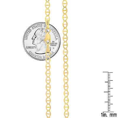 "14k Solid Yellow Gold 3.2mm Mariner Link Chain Necklace Pendant Size 16""-24"""