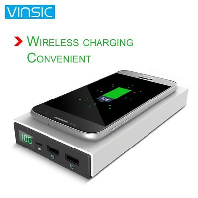 12000mAh VINSIC Qi Wireless Battery Pack Charger 2in1 Portable Power Bank+LCD SN