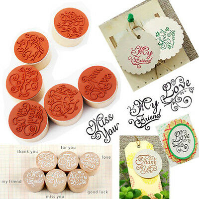 Handwriting Wish Sentiment Wooden Rubber Round Stamp Floral Choose Word Popular