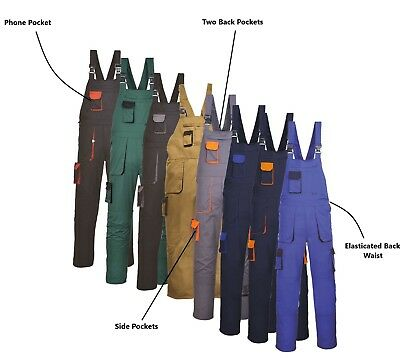 Portwest Bib and Brace Texo Contrast Painters Elasticated Coverall Overall TX12