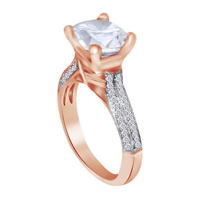 Real 14K Rose Gold 2.45ct Diamond Round Brilliant Anniversary Engagement Ring