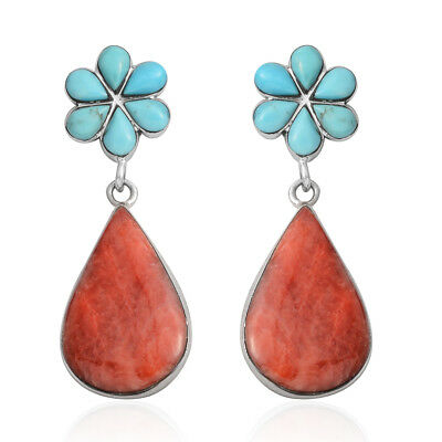 925 Sterling Silver Turquoise, Spiny Oyster Shell Earrings for Women Cttw 2