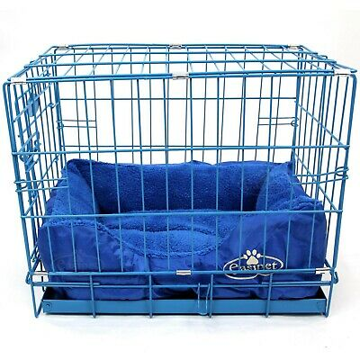 Blue Dog Cage with Faux Fur Bed Metal Training Puppy Crate Carrier S M L XL XXL