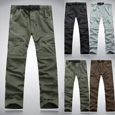 Mens Zip Up Trekking Long Pant Quick-Dry Pants Hiking Thin Trousers Hot Outdoor