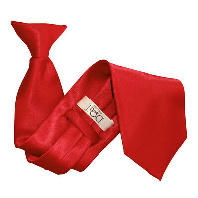 DQT Satin Plain Solid Apple Red Waiter Security Funeral Clip On Tie