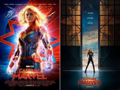 "Captain Marvel Set of 2 Posters 48x32"" 36x24"" Brie Larson Movie 2019 Print Silk"