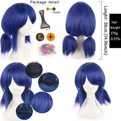Siyi Ladybug Wig Cosplay Wigs For 10+ Kids Lolita Short Blue Curly Synthetic Hal