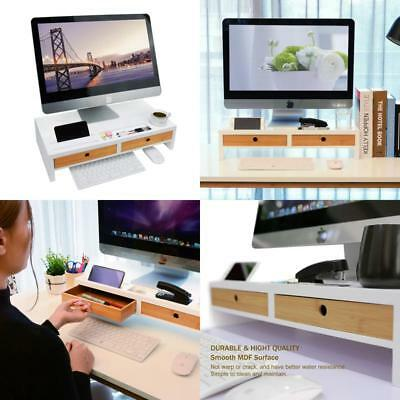 Monitor Riser Stand Desk Shelf - With Drawer And Keyboard Storage, Stylish And W
