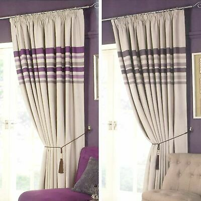 Stripe Pencil Pleat PAIR of Blackout Curtains Thermal Ready Made Free Tiebacks