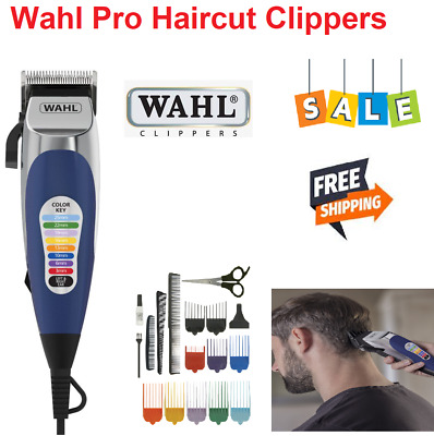 WAHL COLOUR PRO Mens Hair Clippers Electric 18 Pcs Home Haircut Kit Corded NEW