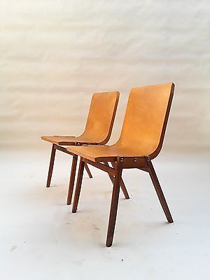 Set Bent Plywood Stacking Chairs by Ronald Rainer 1950,s aalto bill eames era