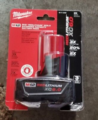 Milwaukee 48-11-2460 M12 RED LITHIUM XC 6.0 Extended Capacity Battery Sealed NEW