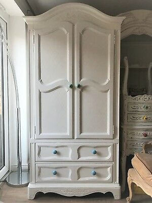 French Shabby Chick Wardrobe Armoire Solid Wood