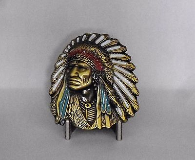 Native American Chief  Metal Belt Buckle