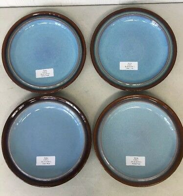 "Set of 4 Denby Corfu 10"" Dinner Plates Blue with Rust Trim - England"