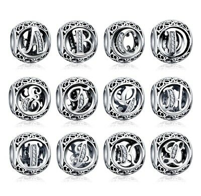 Authentic Charm All Letters Sterling Silver Bangle Brace Charms Beads