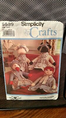 """Simplicity Crafts Pattern 9539 Stuffed Cow, Duck, Doll & Clothes 22"""" Approx 1989"""