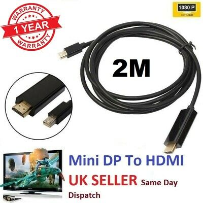 QUALITY Mini DISPLAY PORT DP TO HDMI MALE LCD PC HD TV LAPTOP AVCABLE ADAPTOR 2M