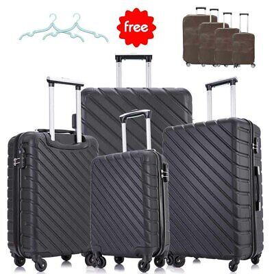 4 Piece Luggage Set Trolley Travel Suitcase ABS Hardside Nested Spinner Black