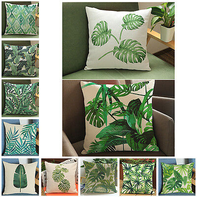 Beautiful Tropical Plants Floral Printed Cotton Linen Home Chair Pillow Cover UC