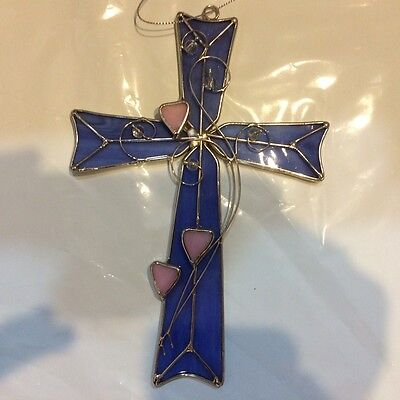 Stained Glass Purple Cross with Pink Hearts [9034-F]