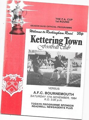 Kettering Town v Bournemouth 17/11/1984 FA Cup 1st Round