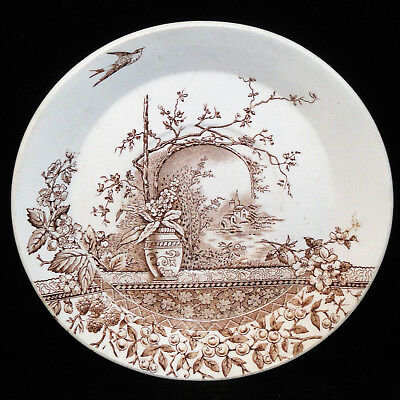 Brown Aesthetic Transferware Saucer RUSTIC Burgess & Leigh Staffordshire 1890