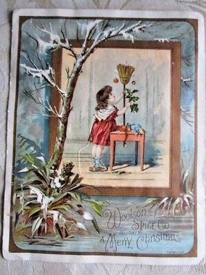 Vintage Woolson Spice Co. Merry Christmas Trade Card - Lion Coffee