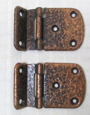 "(2) Vintage Hammered Copper Plated Steel Cabinet Door Hinges - 3/8"" Inset"