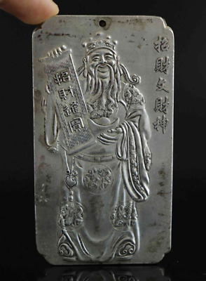 Collectable Old Tibet Silver Hand Carve Chinese God of wealth Auspicious Pendant