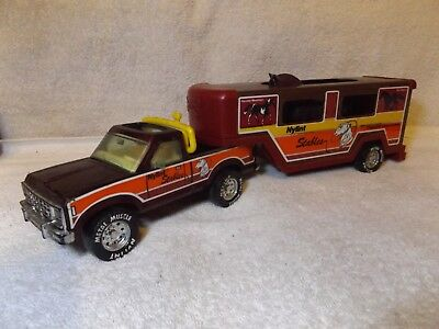 "VINTAGE PRESSED STEEL--NYLINT 1970's CHEVY PICKUP & HORSE TRAILER--16 1/2"" LONG"