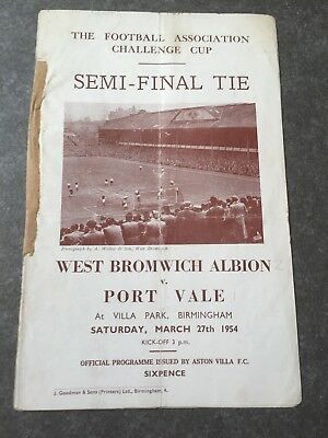 West Bromwich Albion v Port Vale FA Cup Semi Final Football Programme 1954