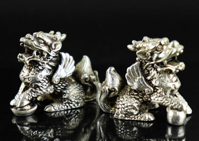 Collectable Chinese Tibet Silver Carve Myth Kylin Exorcism Amulet A Pair Statue
