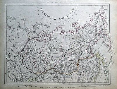 NORTHERN ASIA, ASIATIC RUSSIA,, Sharpe original antique map 1849