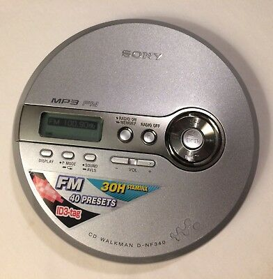 Sony D-NF340 CD Walkman MP3 Discman FM Radio Portable CD Player Tested Works