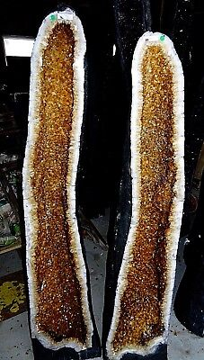 Inexpensive  Large 56 In.brazilian Citrine Crystal Cathedral Cluster Geode Pair