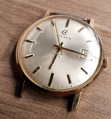 Working Vintage Cyma Gents Mechanical Watch needs new crystal