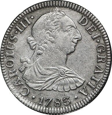 1783 F.F. Silver 2 Reales, KM-88.2, XF Details, Surface Corrossion